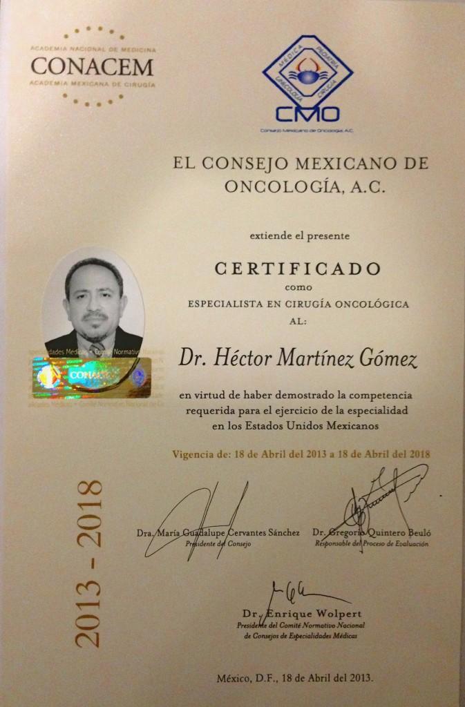 Certificado Acredita Cirujano Oncólogo Dr. Hector Martinez